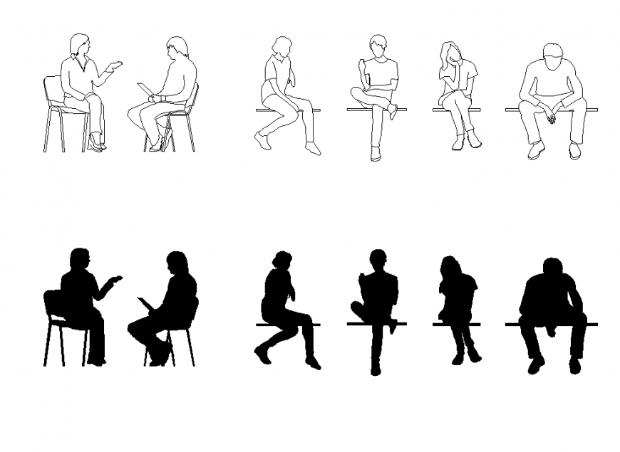 Sitting people CAD blocks detail elevation 2d view layout autocad file