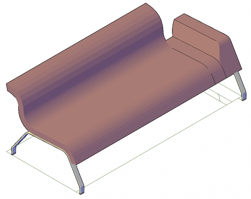 Sitting sofa detail elevation 3d model autocad file