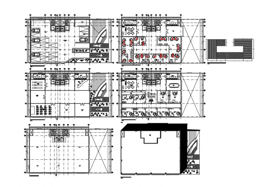 Six-story corporate building floor plan cad drawing details dwg file