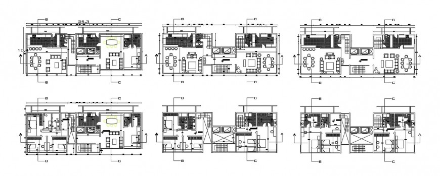 Six floor distribution plan drawing details for apartment building dwg file