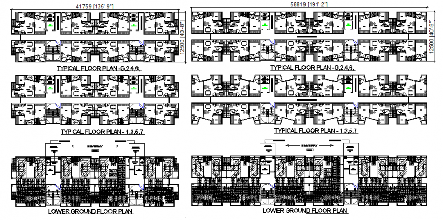 Six flooring housing apartment building all floors layout plan details dwg file