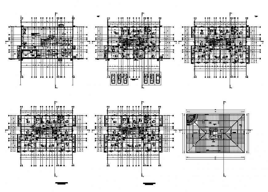 Six floors distribution layout plan details of residential apartment building dwg file