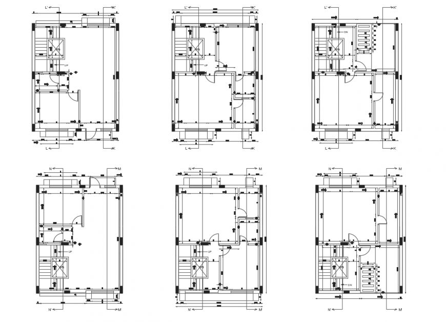 Six floors distribution plan details of residential building dwg file