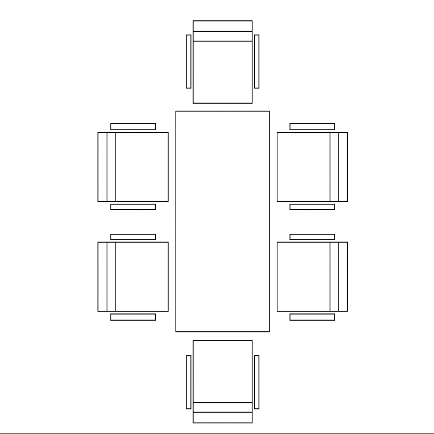 Six seated rectangle dining table cad block design dwg file