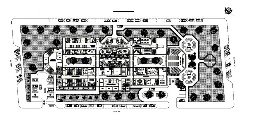 Six story hospital building distribution plan cad drawing details dwg file