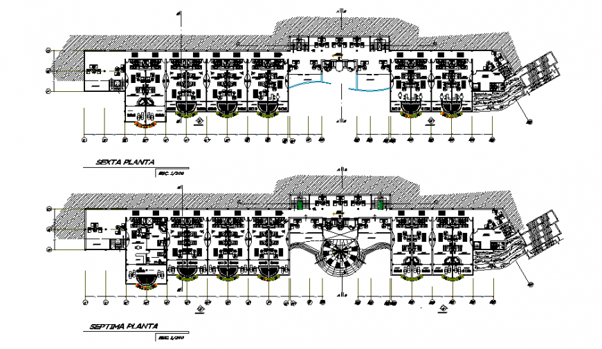 Sixth and seven floor layout plan details of multi-level five star hotel dwg file