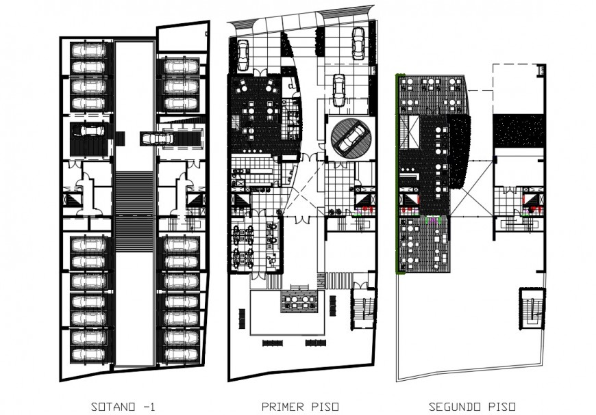 Sky condos office building ground, first and second floor plan details dwg file