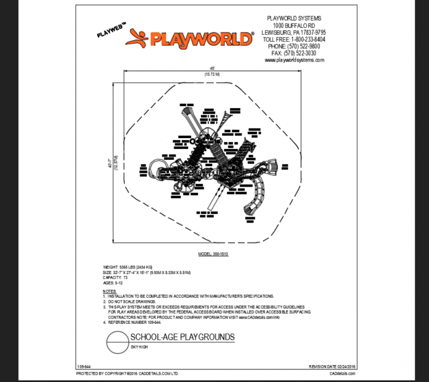 Sky high school playground play area structure details with equipment dwg file