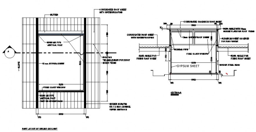 Skylight window details plan and section 2d view autocad file