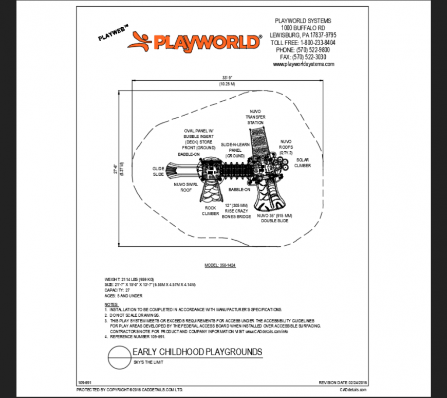 Skys the limit early child hood play ground structure plan details dwg file