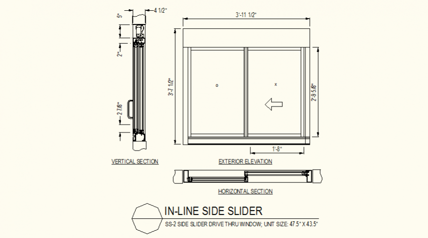 Slider window detail elevation and section detail dwg file