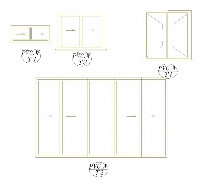 Slider window elevation plan layout file
