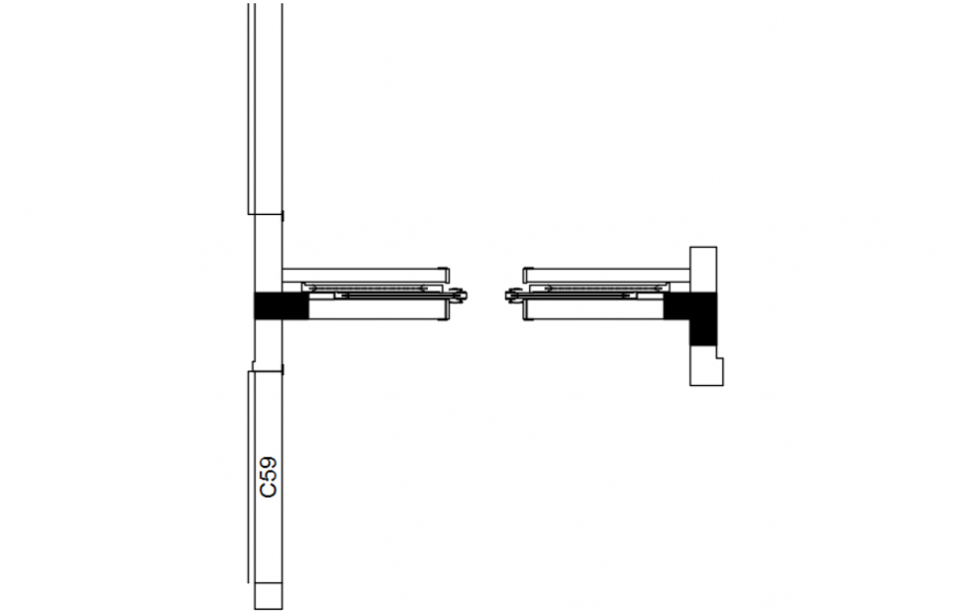 Sliding door frame and installation drawing details dwg file
