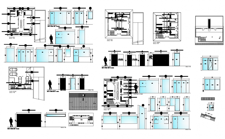 Sliding door installation, parking floor and auto-cad drawing details of house dwg file