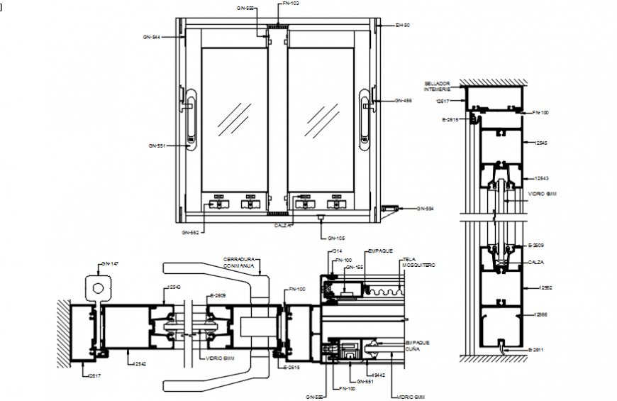 Sliding glass door main elevation and installation drawing details dwg file