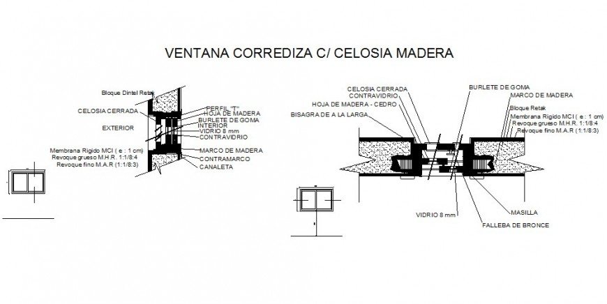 Sliding Window with Wood Cecelia installation details dwg file