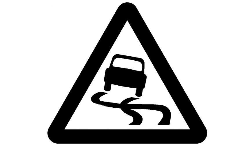 Slippery road when wet signage or iconic image in dwg AutoCAD file.