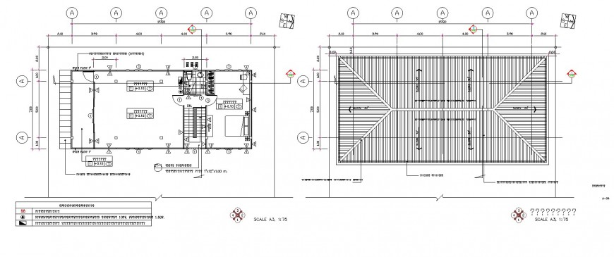 Sloping roof plan of bungalow and plan in dwg file.