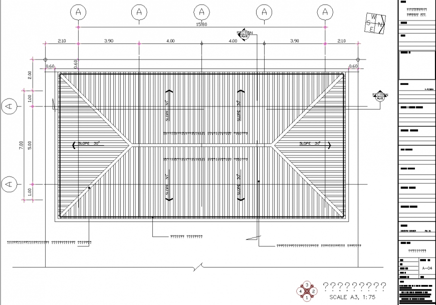 Sloping roof roof plan detail drawing in dwg file.