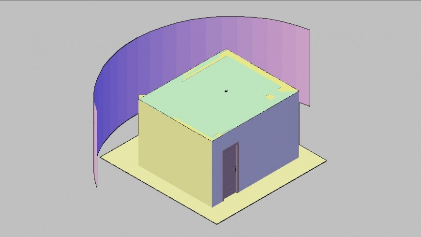 Small 3d cabin model cad drawing details dwg file