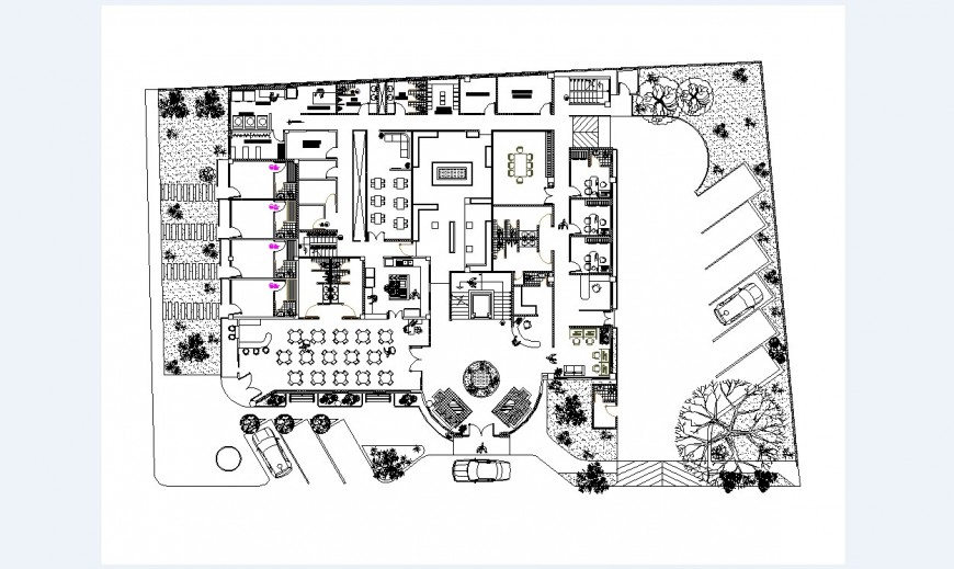 Small admin office building distribution layout plan cad drawing details dwg file