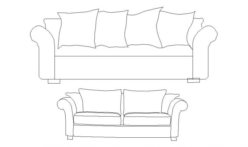 Small and big sofa set elevation blocks cad drawing details dwg file