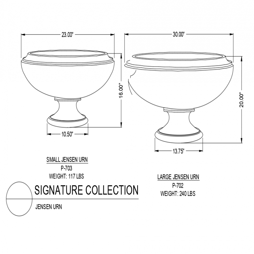 Small and large Jensen urn dwg file