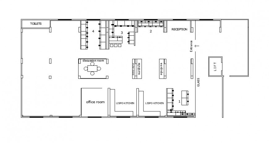 Small area office architecture layout plan cad drawing details dwg file