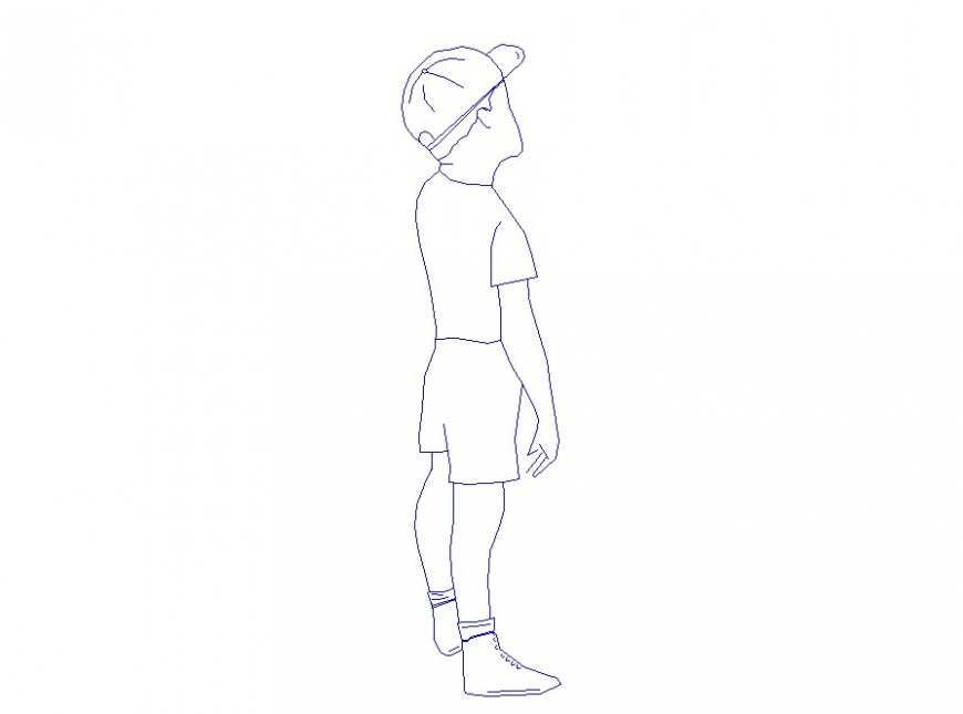 Small boy wearing hat 2d elevation block drawing details dwg file