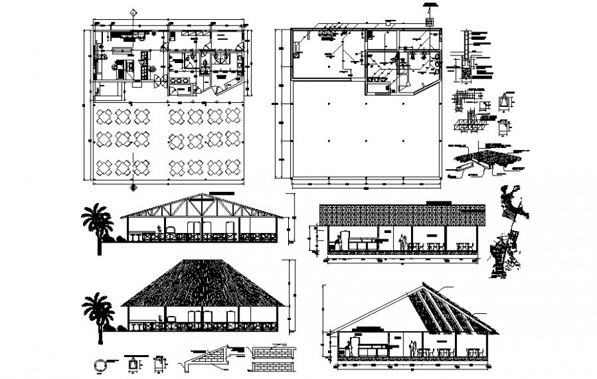 Small cafe building details plan and elevation drawing in autocad