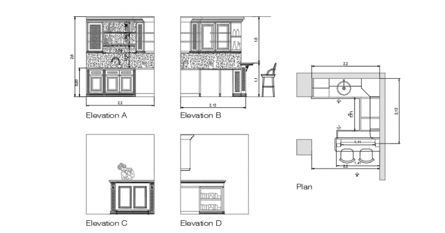 Small cafe sectional elevation  dwg file