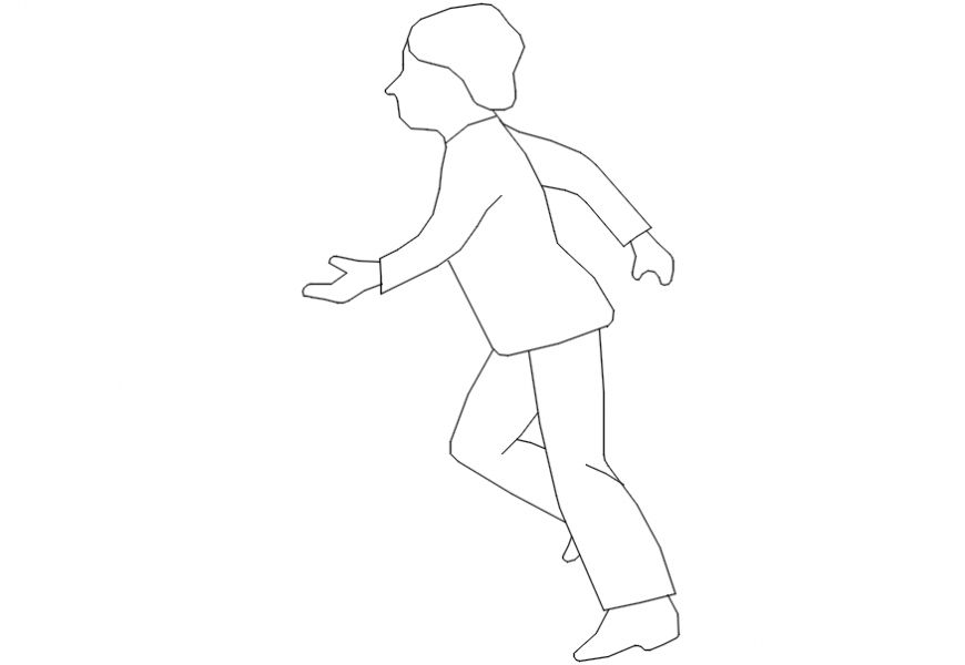 Small child running elevation block cad drawing details dwg file