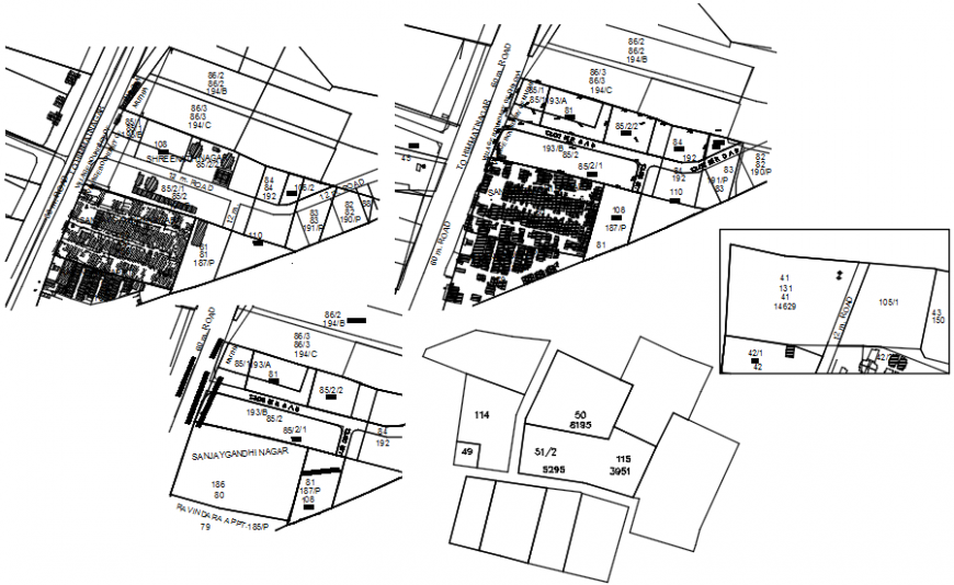 Small city areas town planning and map cad drawing details dwg file