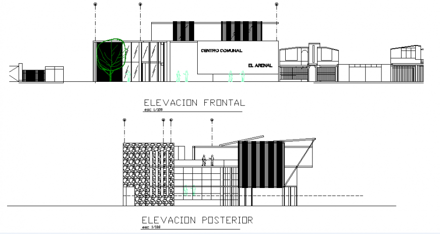 Small commercial building elevation detail