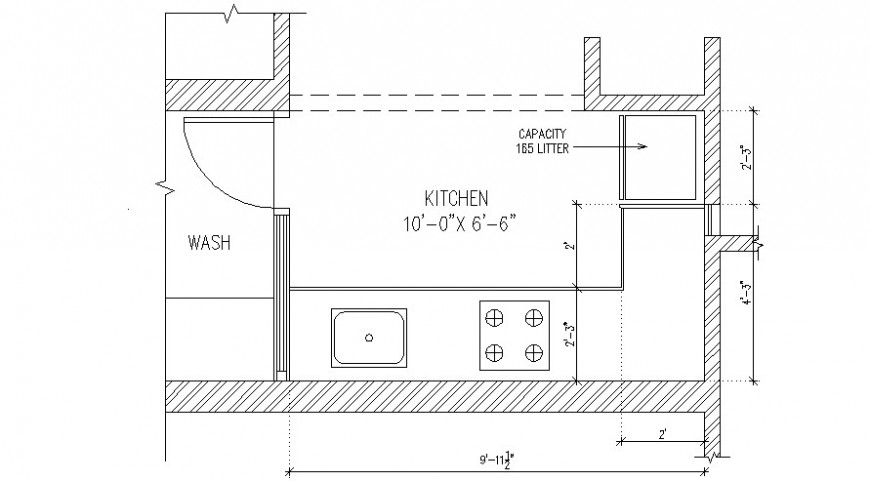 Small common kitchen layout plan cad drawing details dwg file