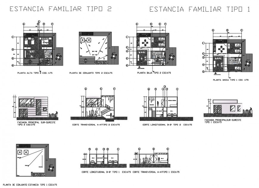 Small cottage house elevation, section, plan and auto-cad details dwg file