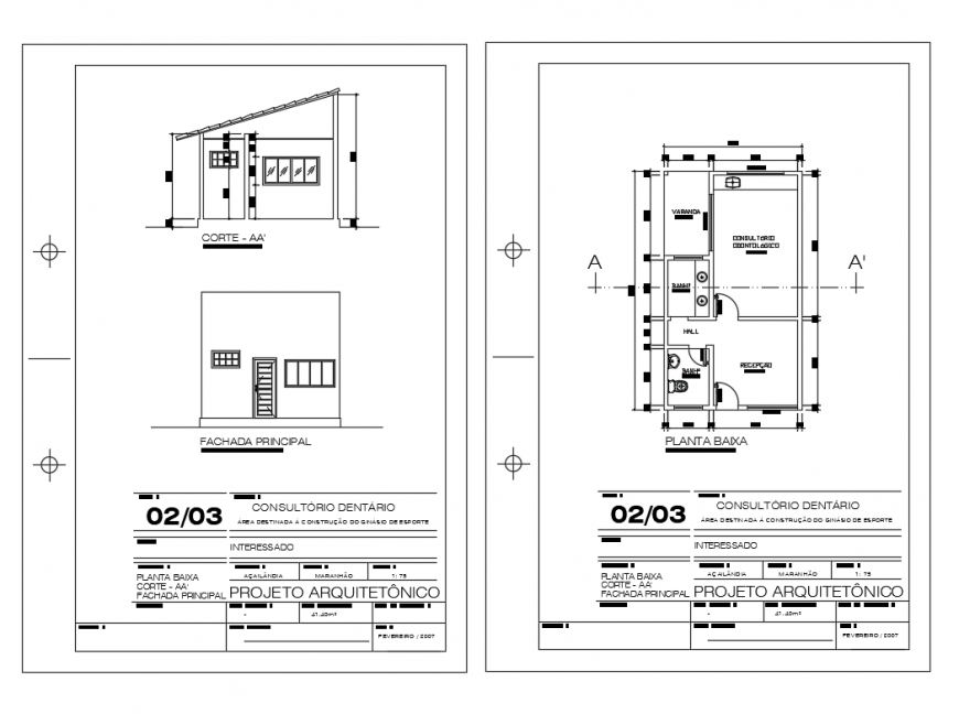 Small dentistry clinic elevation, section and plan cad drawing details dwg file