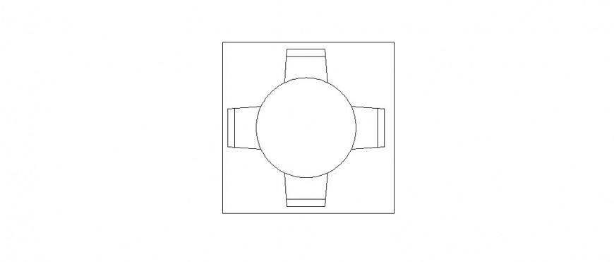 Small dining table top view elevation block details dwg file