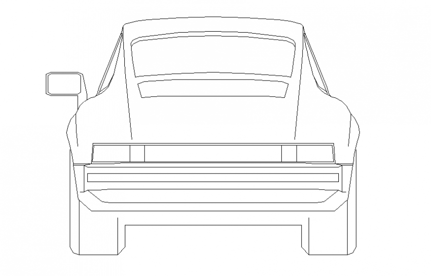 Small family car front elevation block cad drawing details dwg file