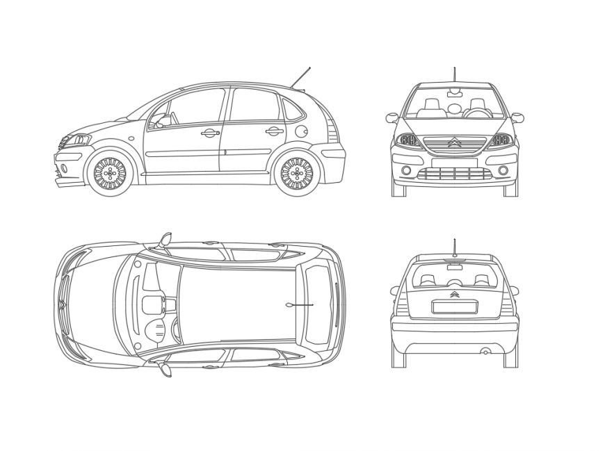Small family cars creative cad blocks details dwg file