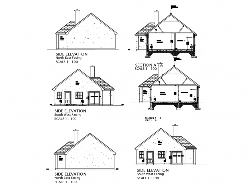 Small family house side elevation and sectional details dwg file
