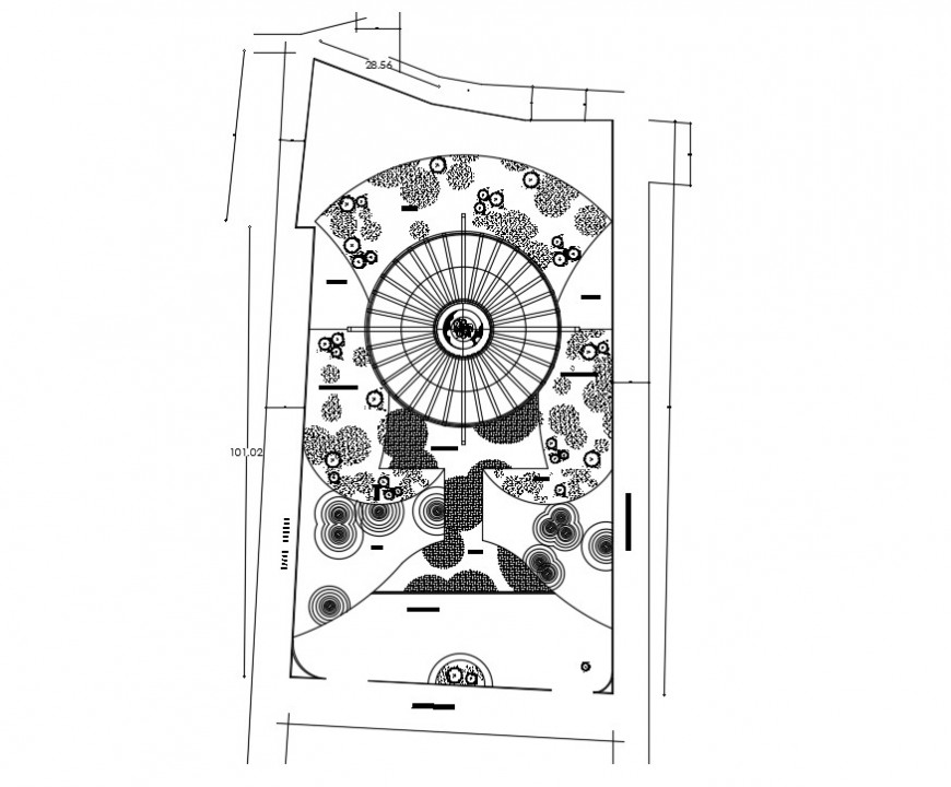 Small garden for city hall distribution plan cad drawing details dwg file