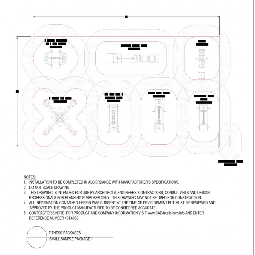 Small gym equipment arrangement sample autocad file