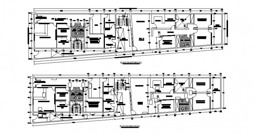 Small hospital first and second floor plan distribution cad drawing details dwg file
