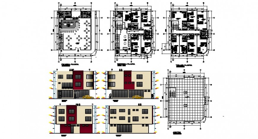 Small hotel-restaurant all sided elevation and floor plan cad drawing details dwg file