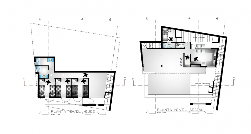 Small hotel top view plan detail in dwg AutoCAD file.