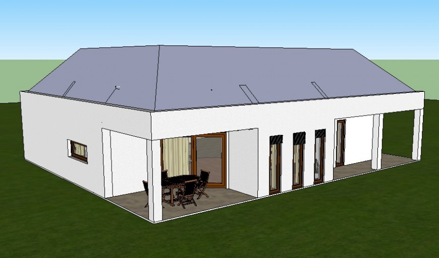 Small house 3d exterior model cad drawing details skp file