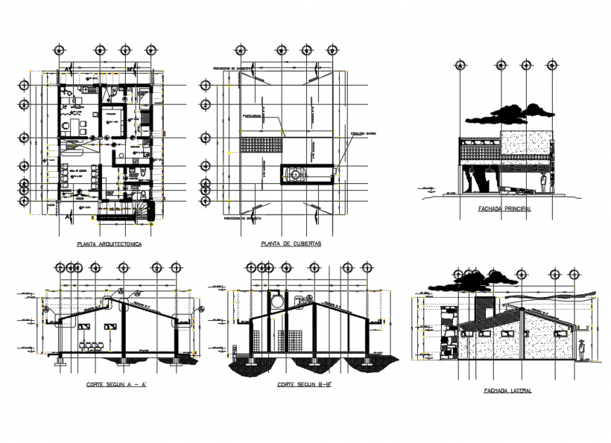 Small house all sided elevation, section and plan cad drawing details dwg file