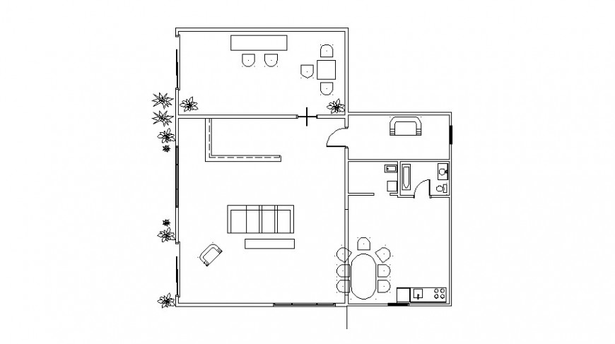 Small house architecture layout plan cad drawing details dwg file