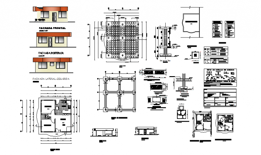 Small house elevation, section, foundation structure and construction details dwg file